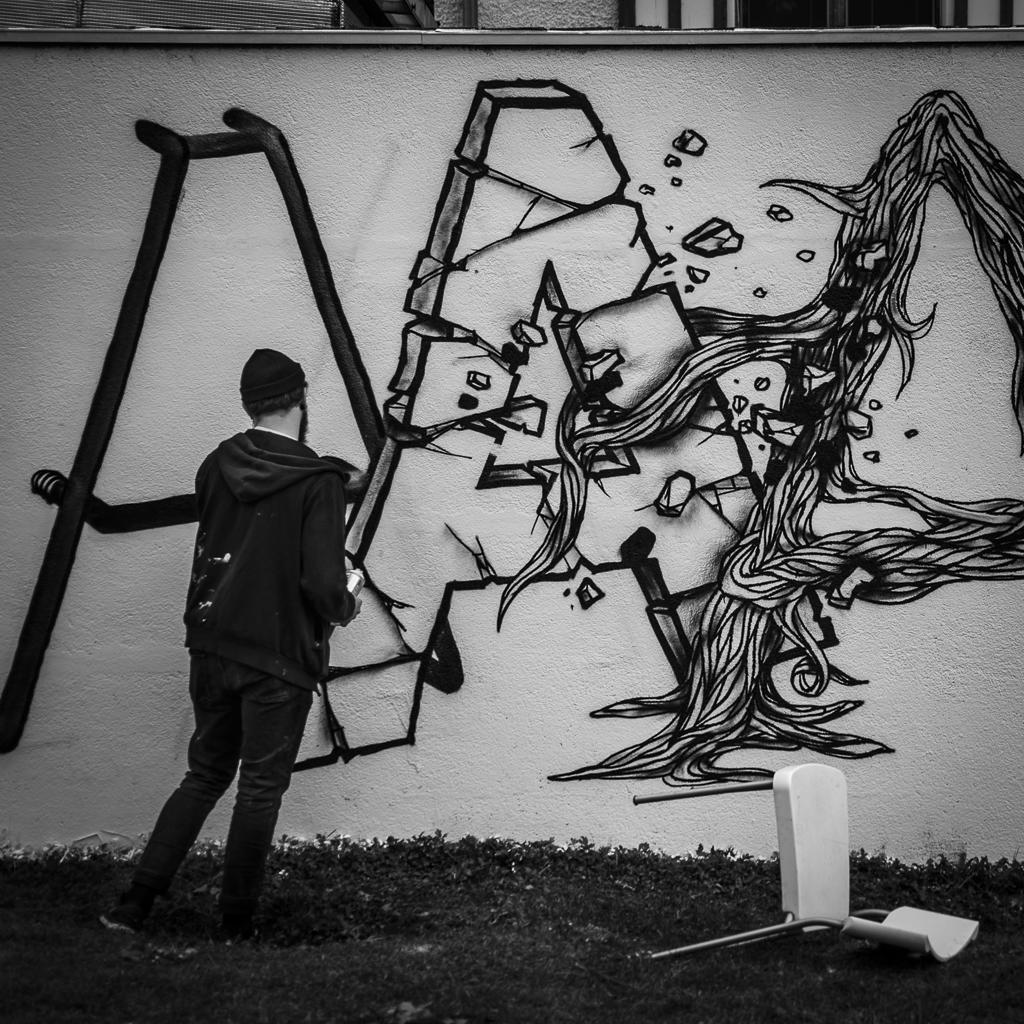 Le graffeur Rylsee à la Fondation Salomon, Annecy