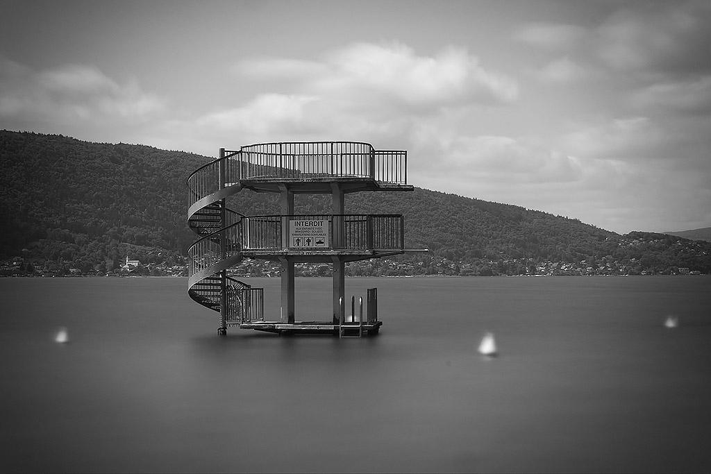 Lac d'Annecy, Plage de Saint Jorioz, le plongeoir.